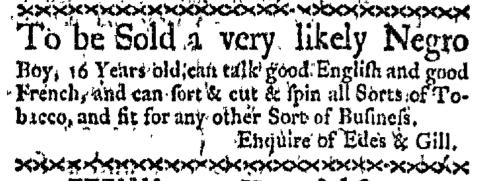 Oct 26 - Boston-Gazette Supplement Slavery 1
