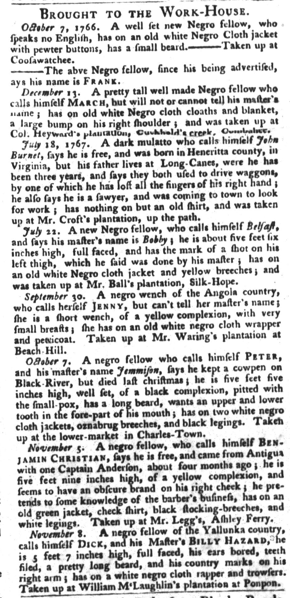 Dec 1 - South-Carolina Gazette and Country Journal Supplement Slavery 3