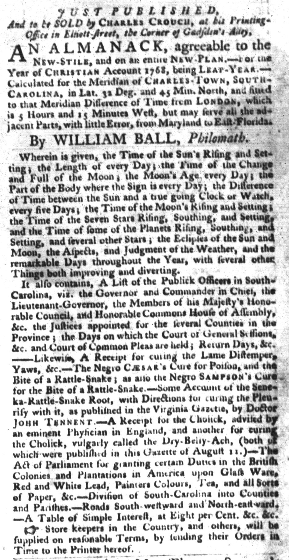Dec 1 - South-Carolina Gazette and Country Journal Supplement Slavery 4
