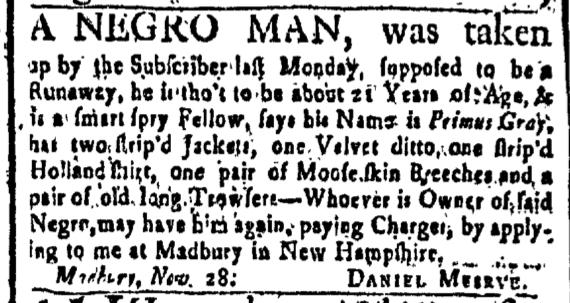 Dec 11 - New-Hampshire Gazette Slavery 1