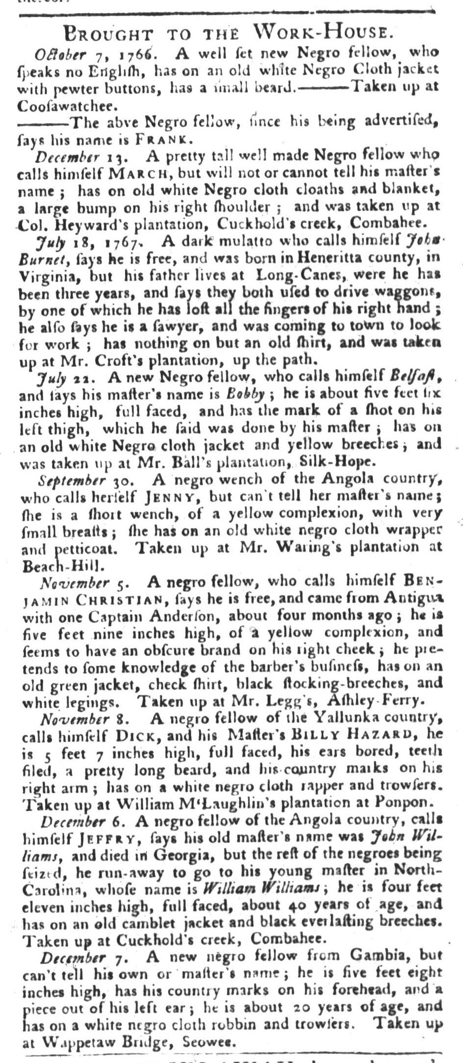 Dec 15 - South-Carolina Gazette and Country Journal Addition Slavery 4