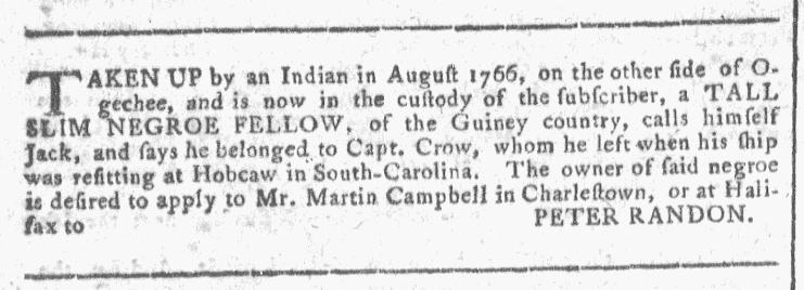 Dec 2 - Georgia Gazette Slavery 1