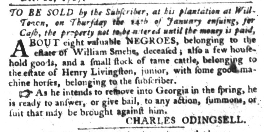 Dec 22 - South-Carolina Gazette and Country Journal Slavery 4