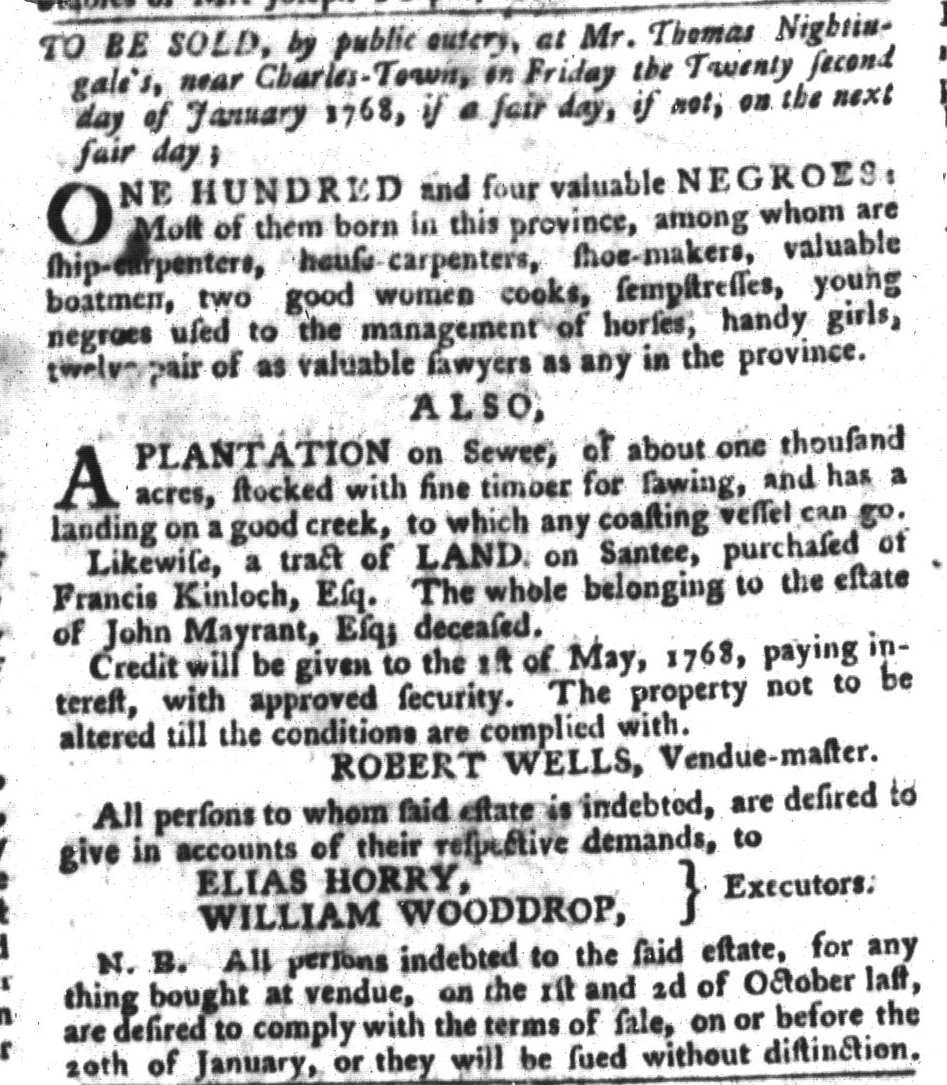 Dec 22 - South-Carolina Gazette and Country Journal Slavery 8