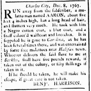 Dec 24 - Virginia Gazette Rind Slavery 4