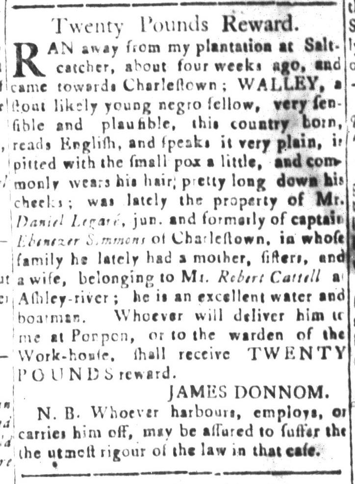Dec 25 - South-Carolina and American General Gazette Slavery 13