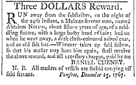 Dec 26 - Providence Gazette Slavery 1
