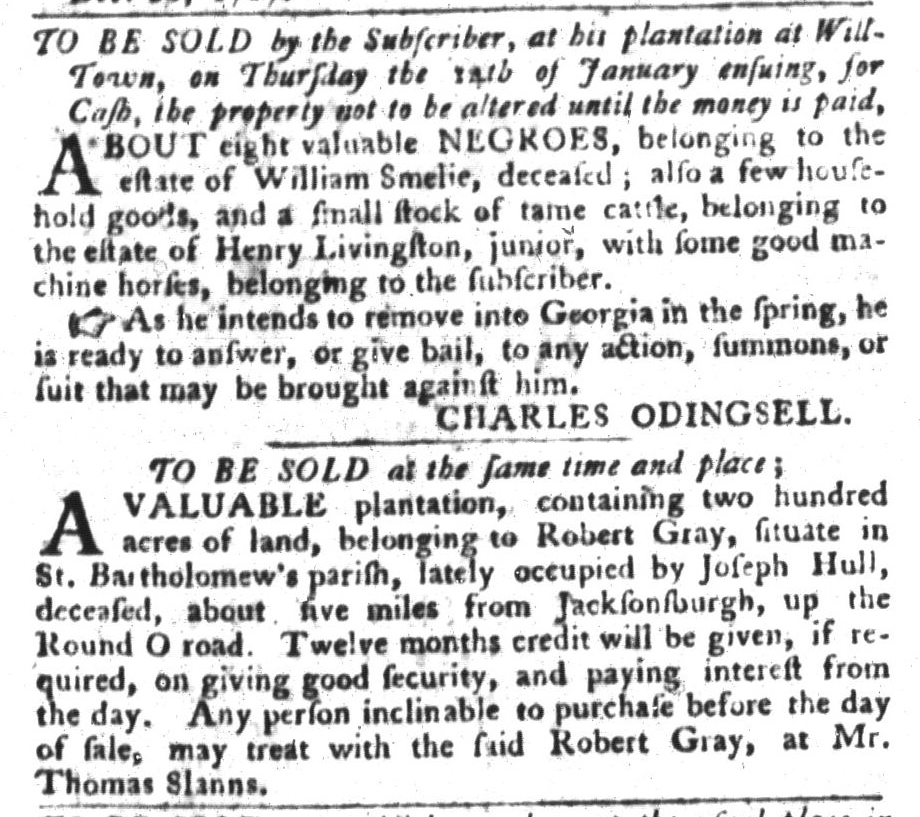 Dec 29 - South-Carolina Gazette and Country Journal Slavery 8