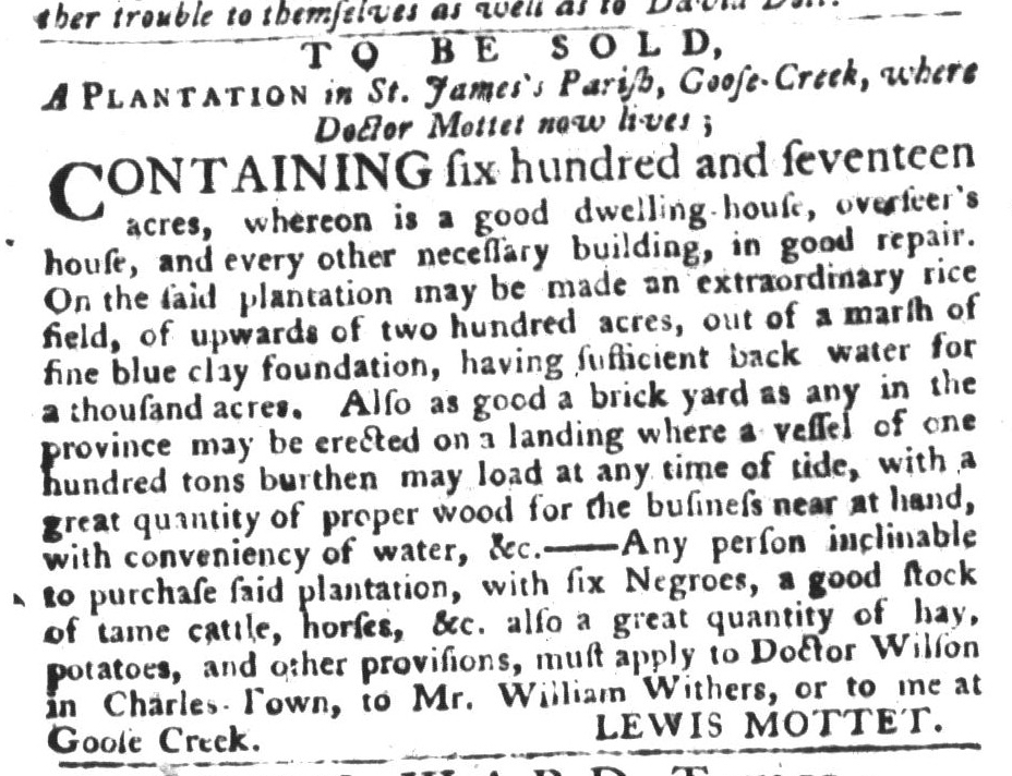 Dec 29 - South-Carolina Gazette and Country Journal Supplement Slavery 1