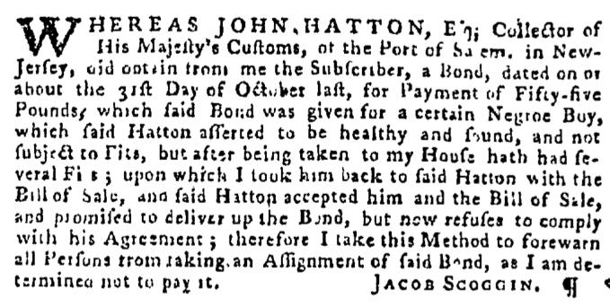 Dec 3 - Pennsylvania Gazette Supplement Slavery 1