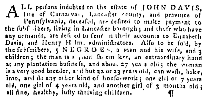 Dec 31 - Pennsylvania Gazette Supplement Slavery 2