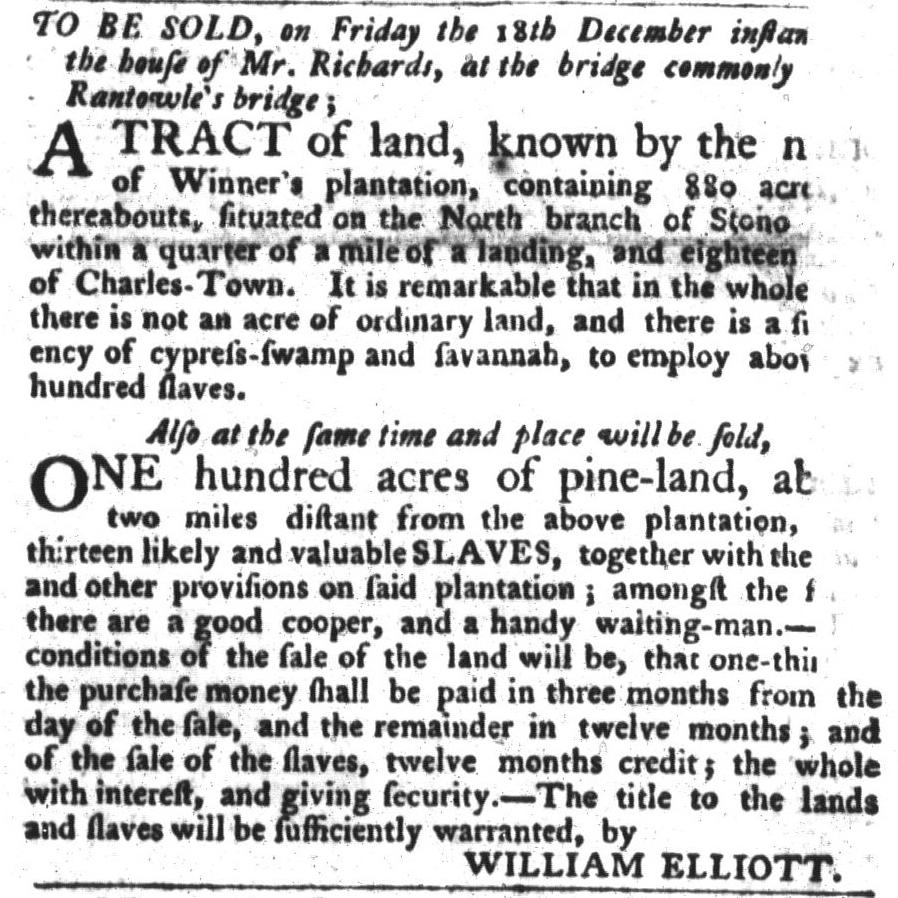 Dec 8 - South-Carolina Gazette and Country Journal Slavery 1