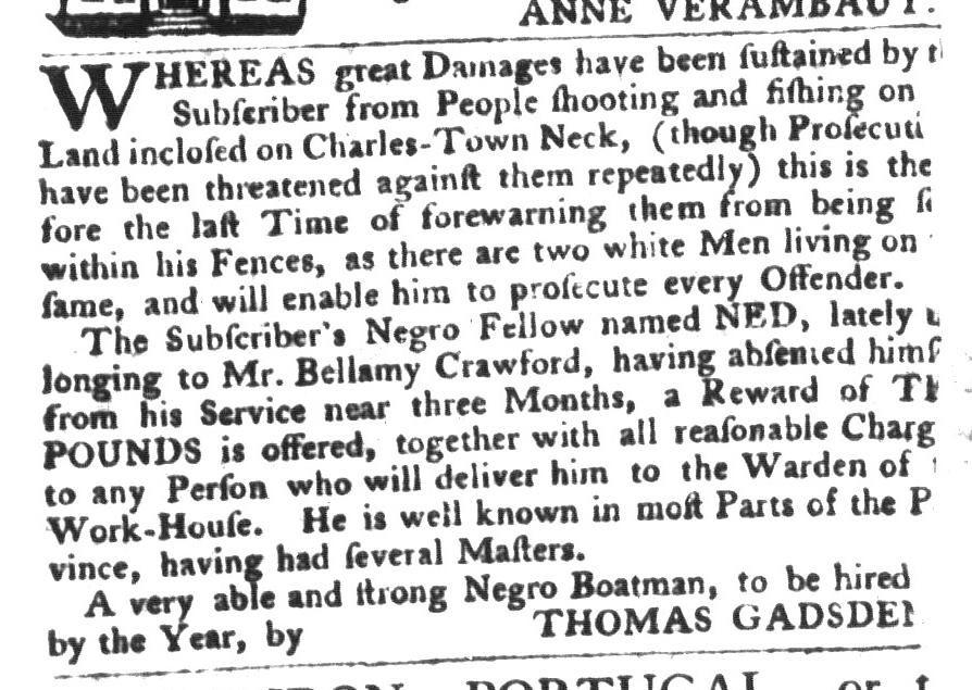 Dec 8 - South-Carolina Gazette and Country Journal Slavery 7