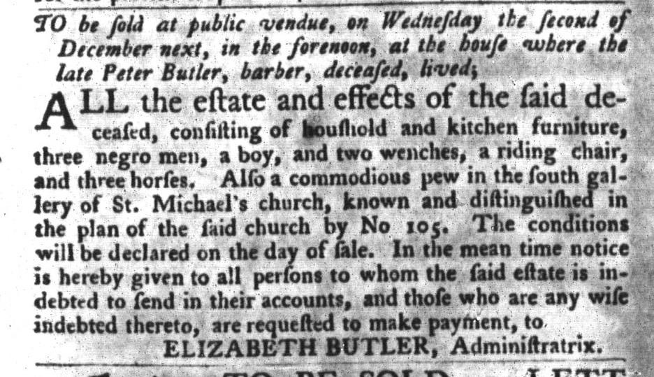 Nov 10 - South-Carolina Gazette and Country Journal Slavery 13
