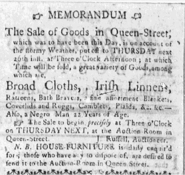 Nov 19 - Massachusetts Gazette Slavery 1