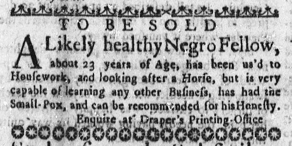 Nov 19 - Massachusetts Gazette Slavery 2