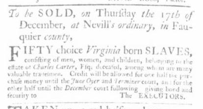 Nov 19 - Virginia Gazette Slavery 1