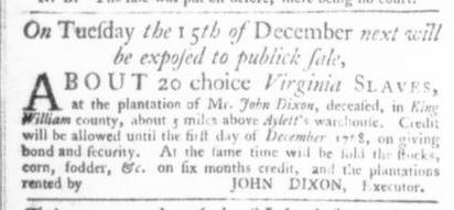Nov 19 - Virginia Gazette Slavery 7