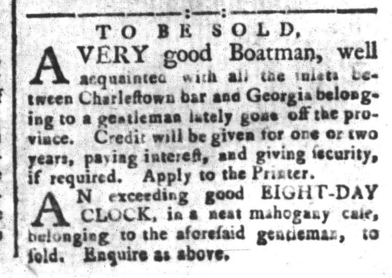 Nov 20 - South-Carolina and American General Gazette Slavery 1