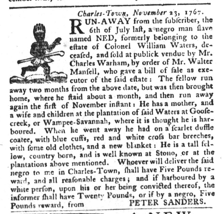 Nov 24 - South-Carolina Gazette and Country Journal Slavery 2