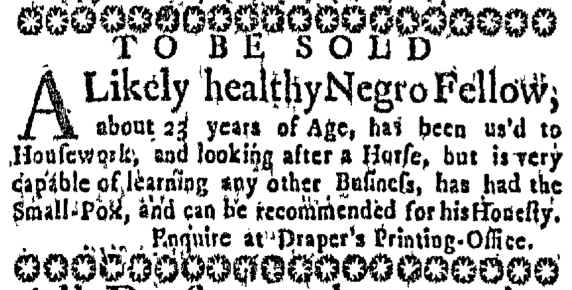 Nov 26 - Massachusetts Gazette Slavery 1