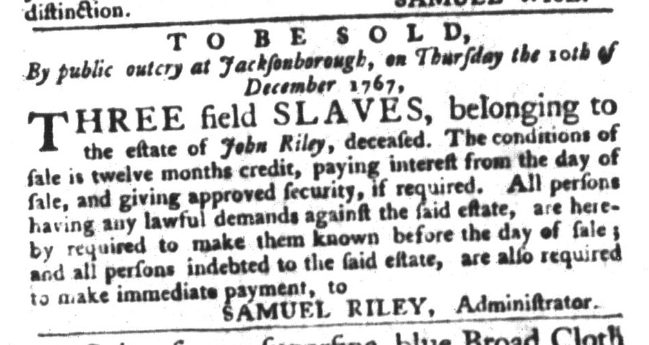 Dec 8 - South-Carolina Gazette and Country Journal Supplement Slavery 10
