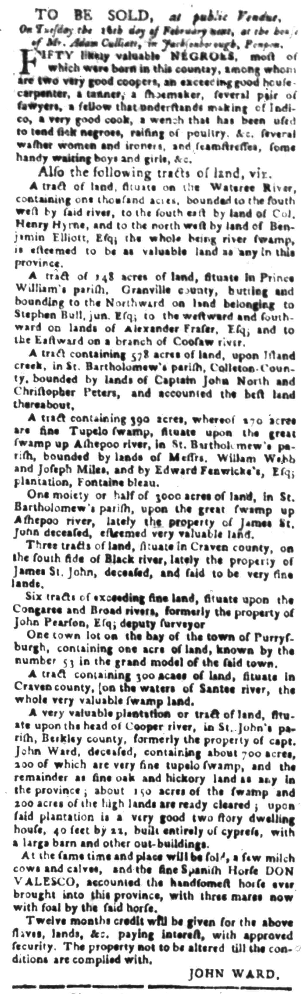 Feb 1 - South Carolina Gazette Slavery 4