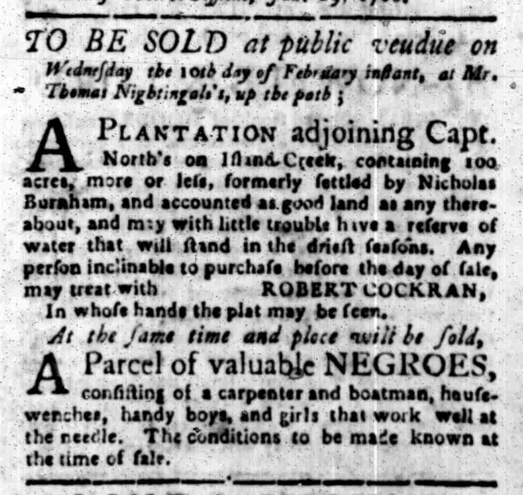 Feb 1 - South Carolina Gazette Slavery 7