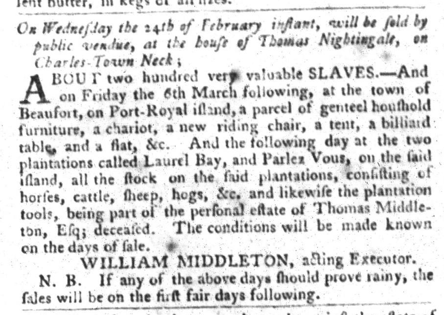 Feb 2 - South-Carolina Gazette and Country Journal Slavery 1