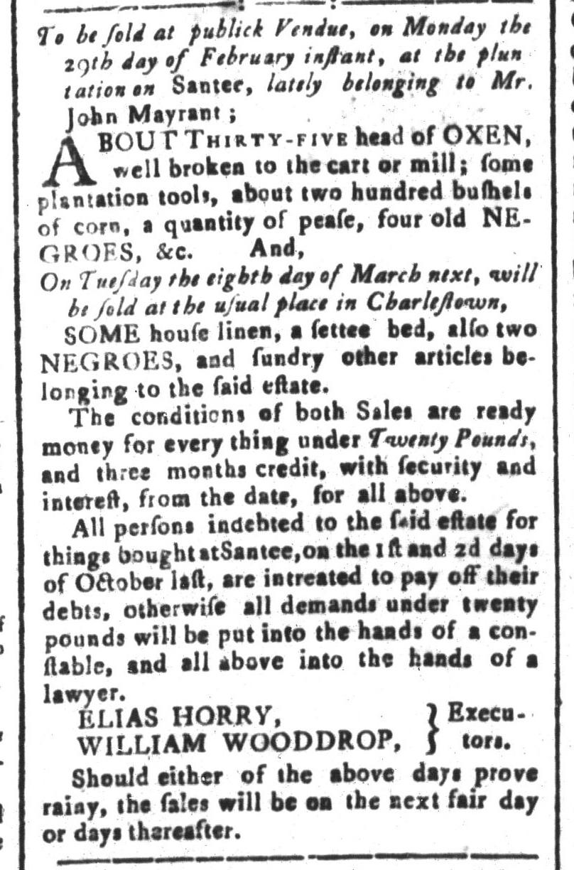 Feb 5 - South-Carolina and American General Gazette Slavery 2