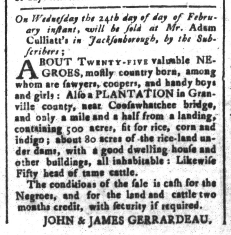 Feb 5 - South-Carolina and American General Gazette Slavery 3