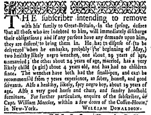 Feb 8 - New-York Gazette Weekly Mercury Slavery 2