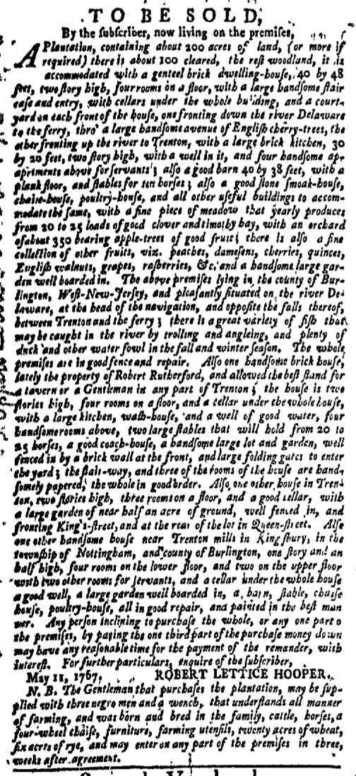 Feb 8 - New-York Gazette Weekly Mercury Supplement Slavery 1