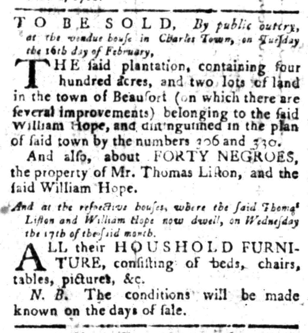 Feb 8 - South Carolina Gazette Slavery 1