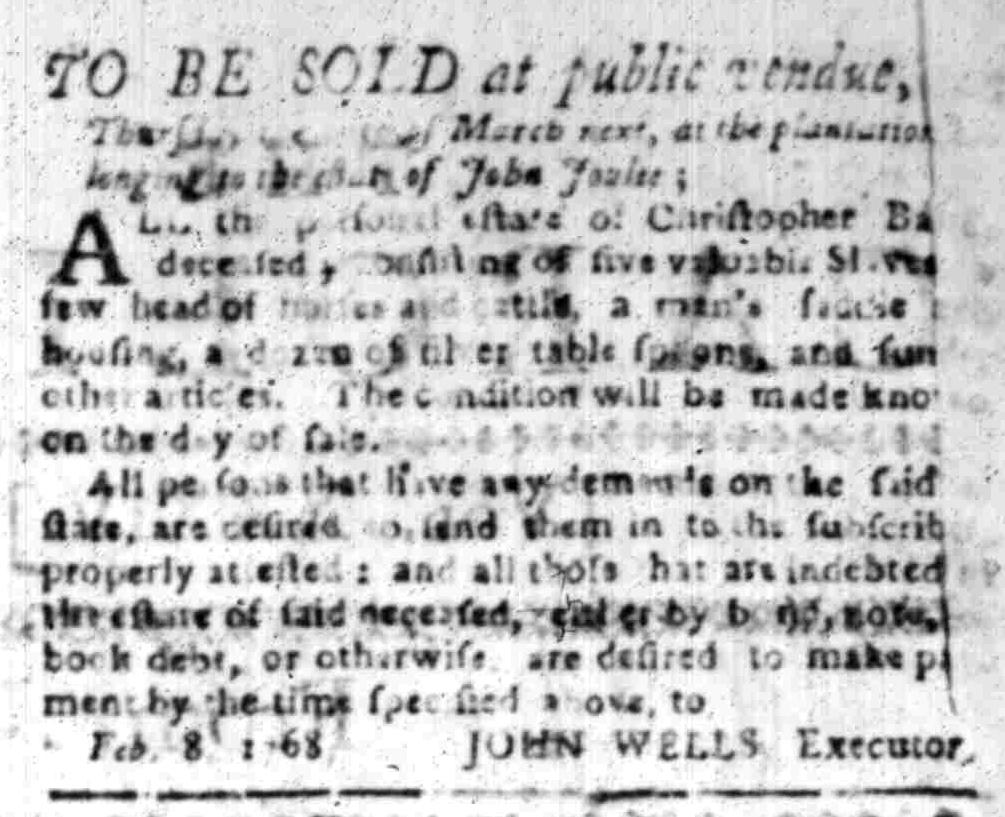 Feb 8 - South Carolina Gazette Slavery 2