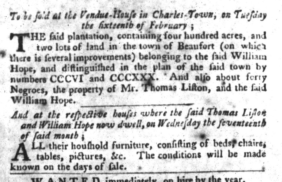 Feb 9 - South-Carolina Gazette and Country Journal Slavery 12