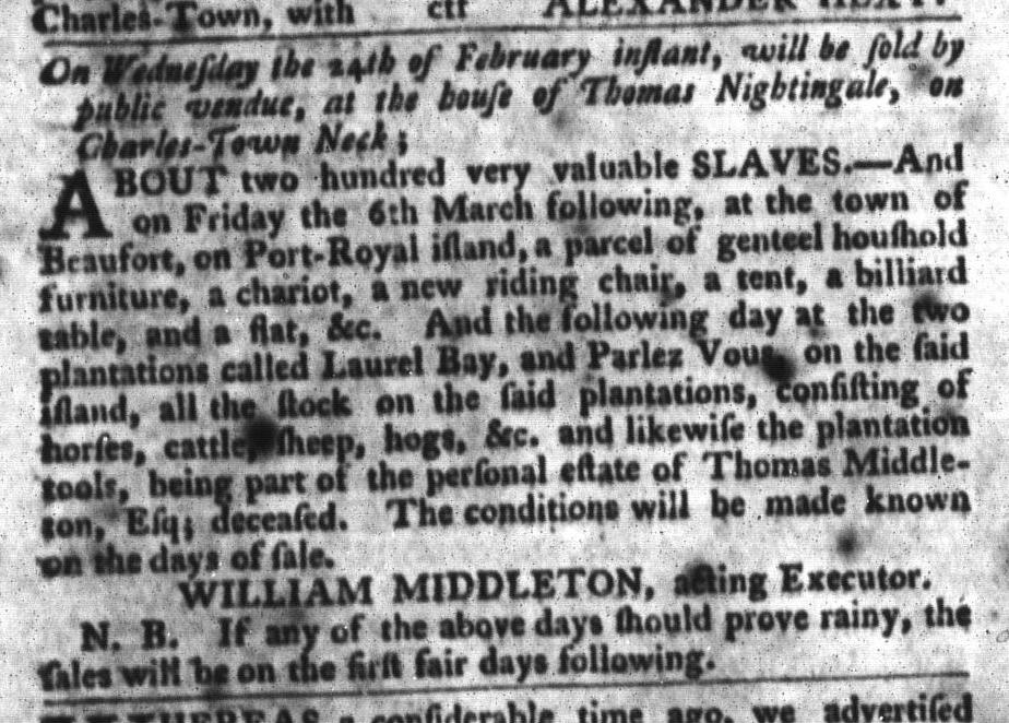 Feb 9 - South-Carolina Gazette and Country Journal Slavery 9