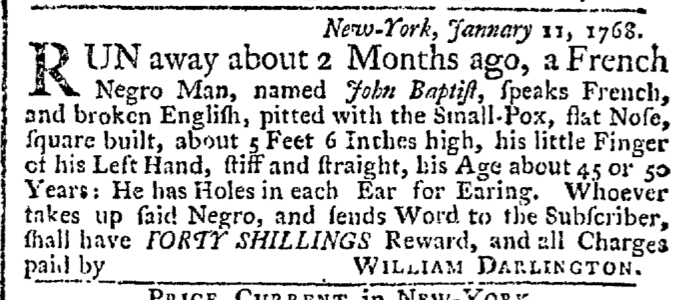 Jan 11 - New-York Gazette Weekly Post-Boy Slavery 1
