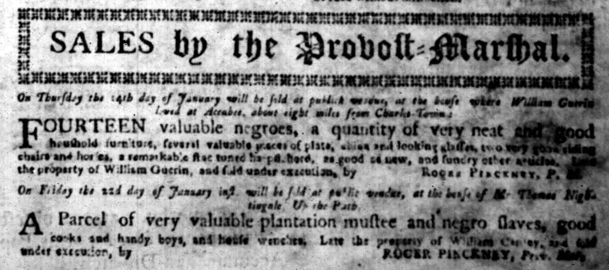 Jan 11 - South Carolina Gazette Slavery 2