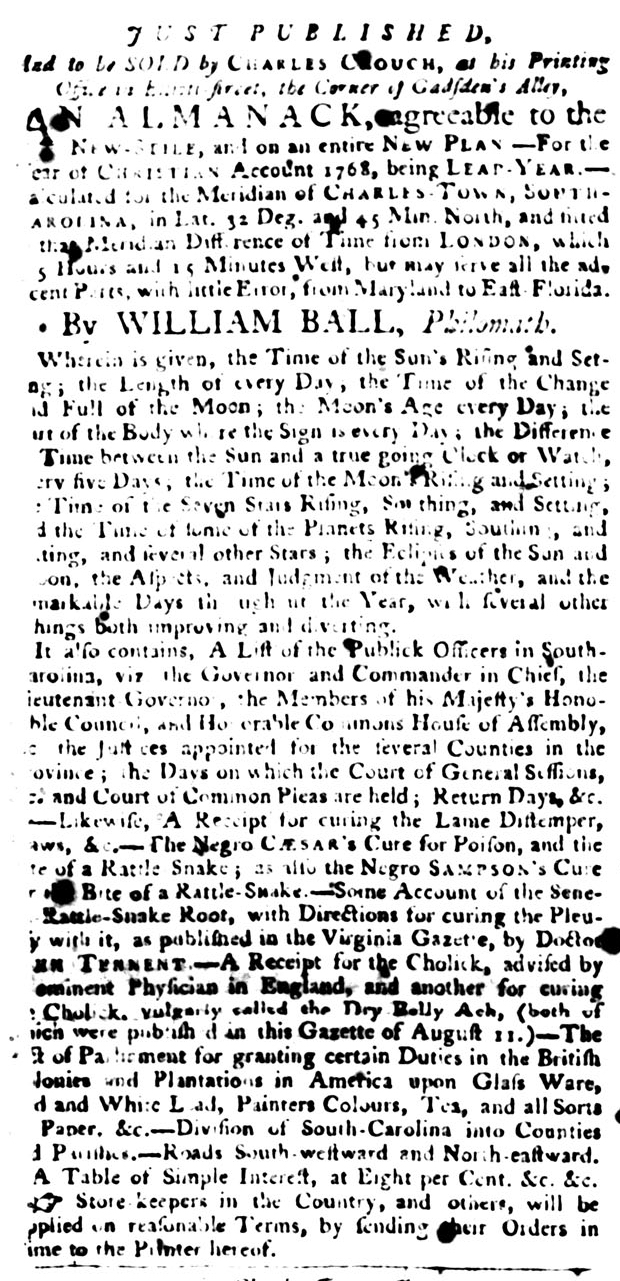 Jan 12 - South-Carolina Gazette and Country Journal Slavery 1
