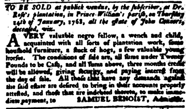 Jan 12 - South-Carolina Gazette and Country Journal Supplement Slavery 9