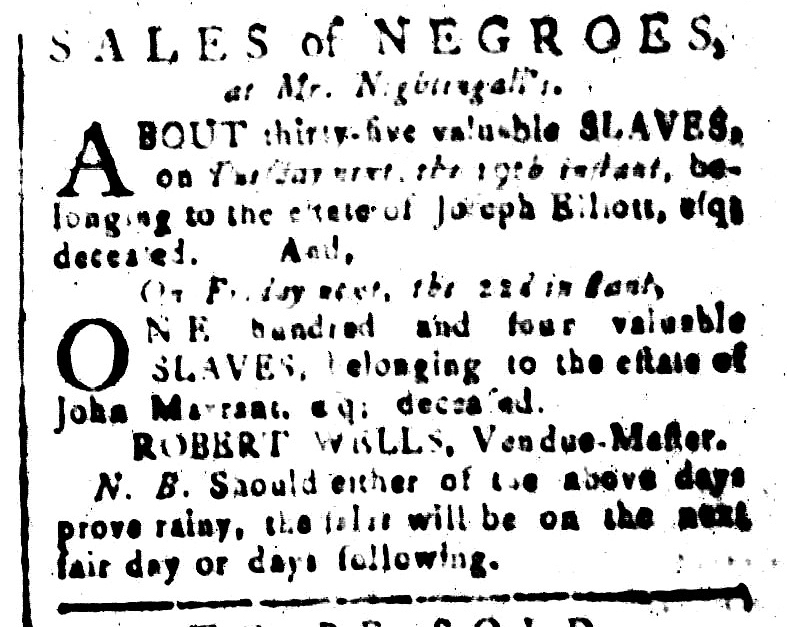 Jan 15 - South-Carolina and American General Gazette Slavery 1