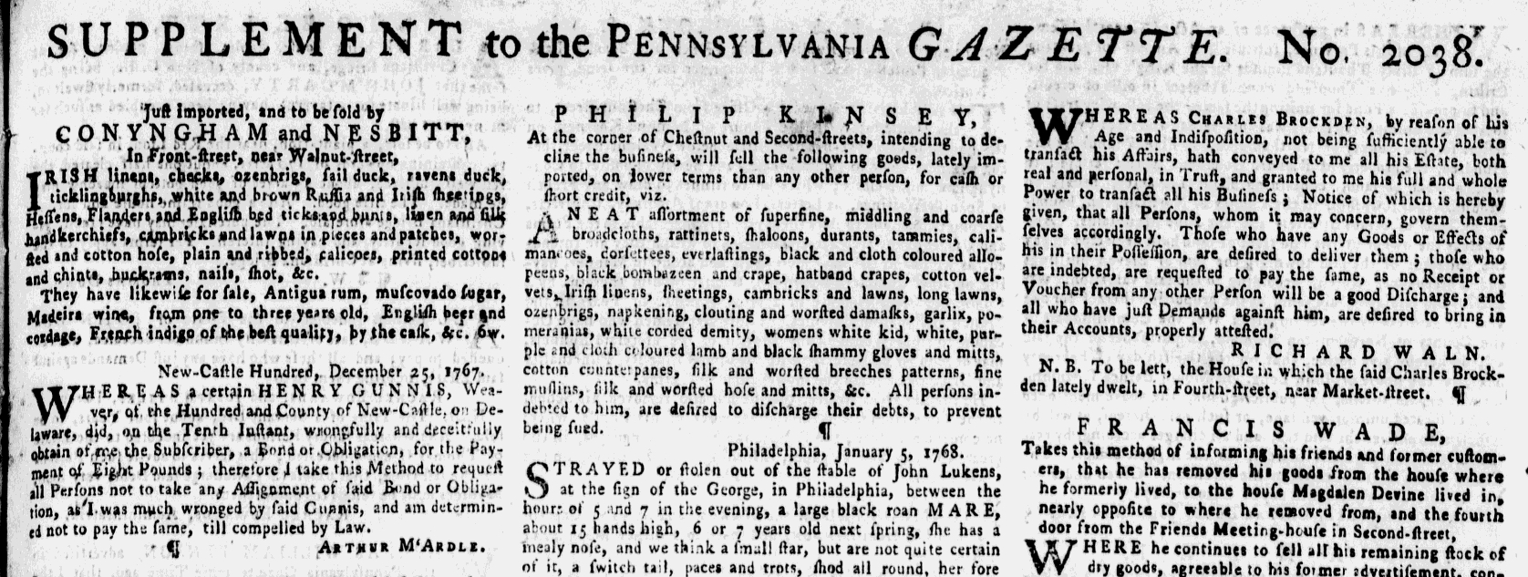 Jan 17 - 1:14:1768 Pennsylvania Gazette Supplement