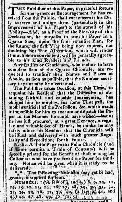 Jan 18 - 1:18:1768 Pennsylvania Chronicle