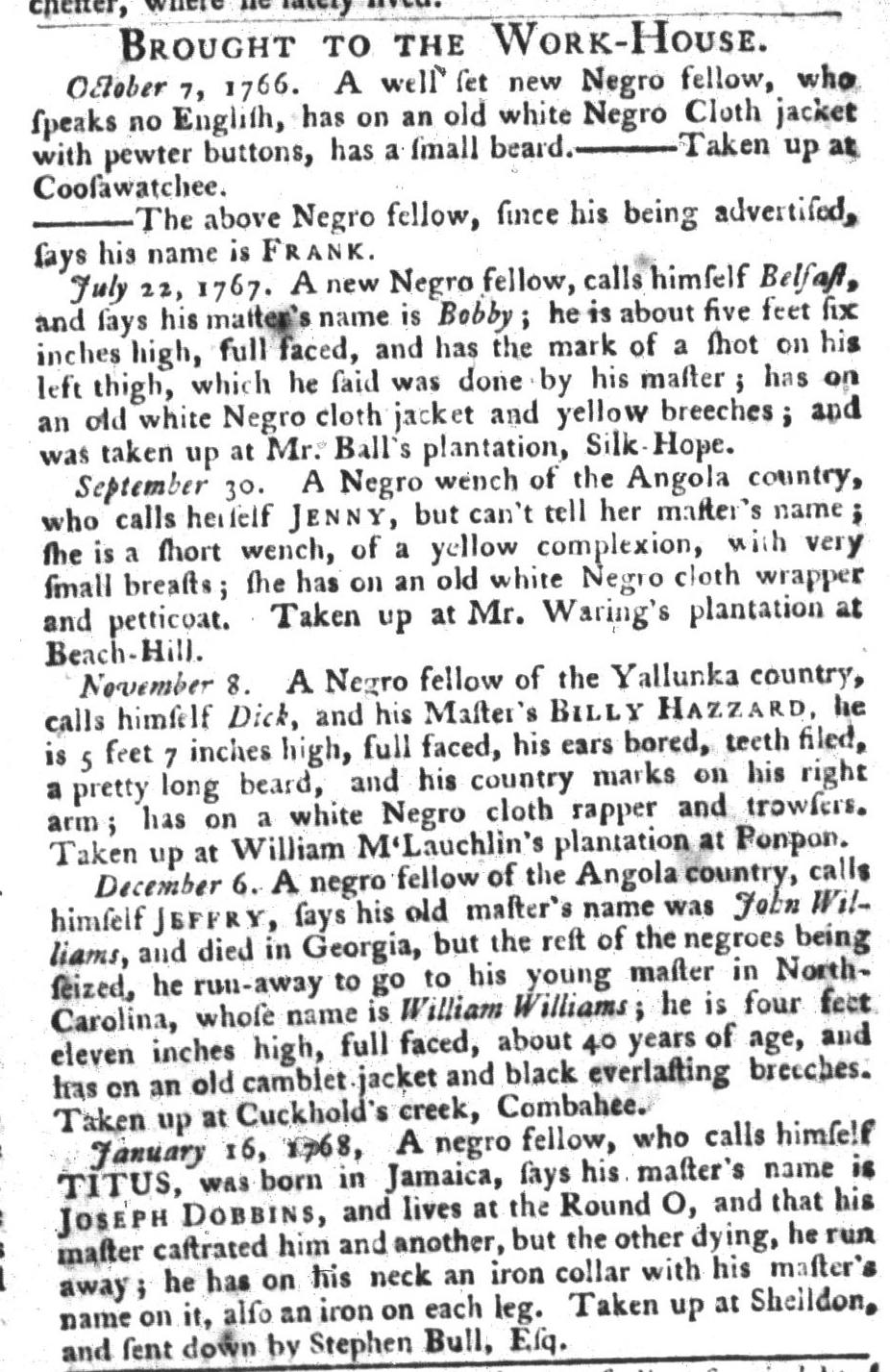 Jan 19 - South-Carolina Gazette and Country Journal Slavery 14