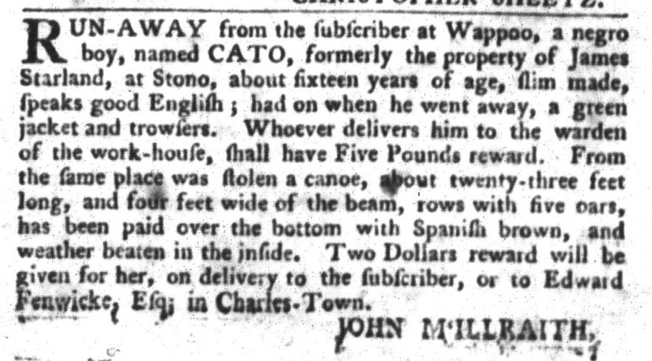 Jan 19 - South-Carolina Gazette and Country Journal Slavery 7