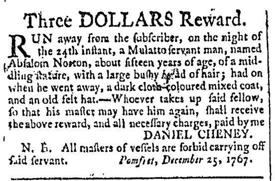Jan 2 - Providence Gazette Slavery 1