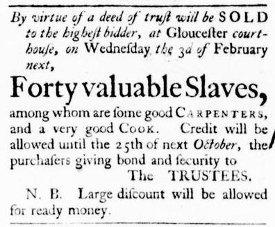 Jan 21 - Virginia Gazette Purdie and Dixon Slavery 1