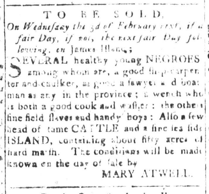 Jan 22 - South-Carolina and American General Gazette Slavery 5