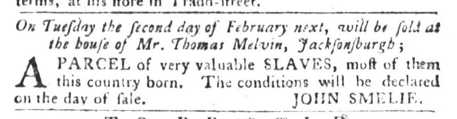 Jan 26 - South-Carolina Gazette and Country Journal Slavery 3